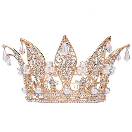 "Amazon.com: Santfe 3"" Height Leaf Crystal Rhinestone Faux Pearl Full Crown Tiara Gold Plated Wedding Prom Pageant Crowns (Gold): Clothing"