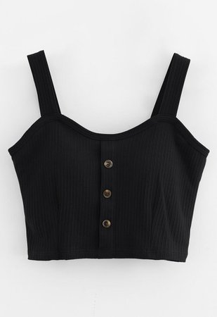 Buttoned Front Strappy Crop Tank Top in Black - Retro, Indie and Unique Fashion