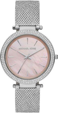 Michael Kors 'Darci' Crystal Bezel Mesh Strap Watch, 39mm