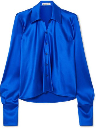 Draped Satin Blouse - Blue