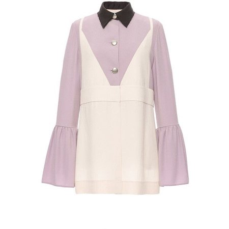 Marni Lilac Crepe Satin Fluted Sleeve Blouse