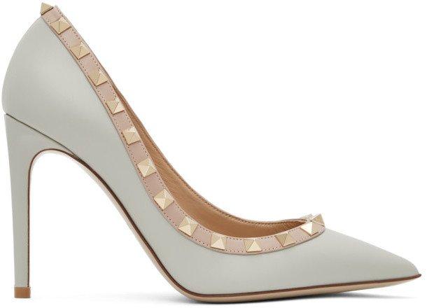 Grey and Pink Garavani Rockstud Heels