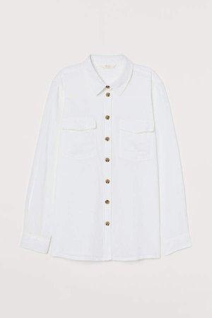 Linen-blend Shirt - White