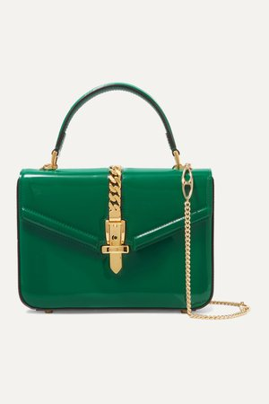 Green Sylvie 1969 mini chain-embellished patent-leather tote | Gucci | NET-A-PORTER