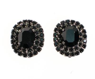 Vintage Jet Black Rhinestone Earrings, Clip On - Vintage Meet Modern