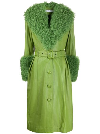Green Saks Potts shearling collar coat - Farfetch