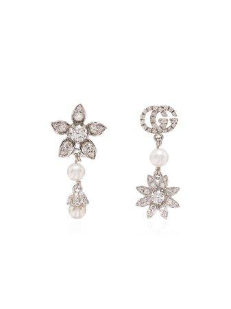 Gucci 18kt white gold asymmetric earrings