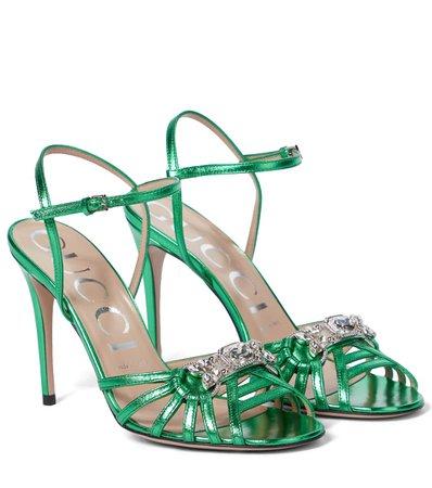 Gucci - Embellished leather sandals | Mytheresa