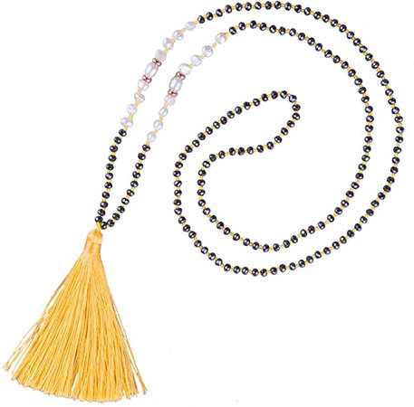 KELITCH Long Tassel Necklace Handmade Shell Pearl Crystal Beads Necklace Fashion Women Jewelry