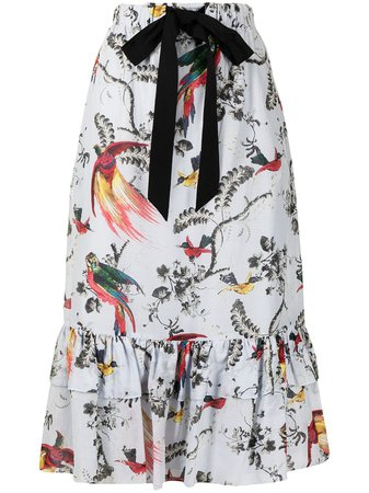 Shop Erdem Corsica tiered midi skirt with Express Delivery - FARFETCH