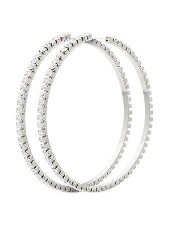 Area Silver Metallic Dorinda Oversized Crystal Hoop Earrings - Farfetch