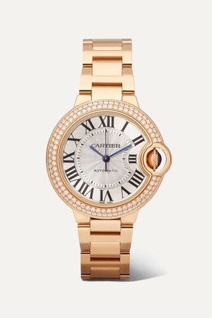 Rose gold Ballon Bleu de Cartier 33mm 18-karat pink gold and diamond watch | Cartier | NET-A-PORTER