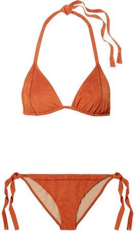 On The Island By Cobra Faux Stretch-suede Bikini - Orange