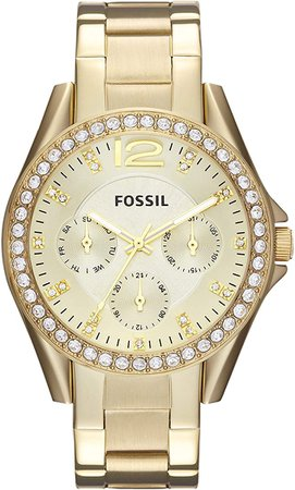 Fossil Women's Riley Quartz Stainless Steel Chronograph Watch, Color: Gold (Model: ES3203): Fossil: Watches