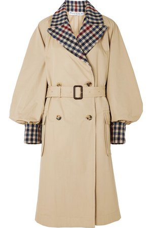 JW Anderson | Belted checked wool-blend and cotton-gabardine trench coat | NET-A-PORTER.COM