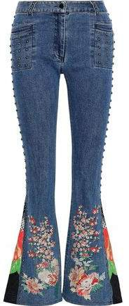 Queen Of Kings Printed Crepe-paneled Embellished High-rise Flared Jeans