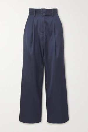 Belted Satin-twill Tapered Pants - Navy
