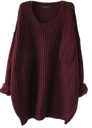 Women's Casual Unbalanced Crew Neck Knit Sweater Loose Pullover Cardigan (Burgundy) at Amazon Women's Clothing store: