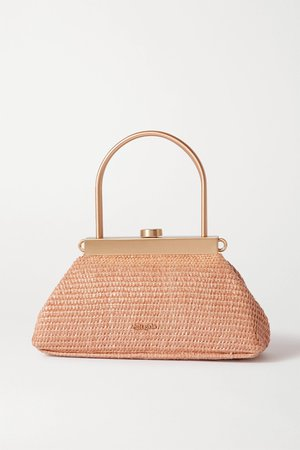 Neutral Estelle mini leather-trimmed woven straw tote   Cult Gaia   NET-A-PORTER