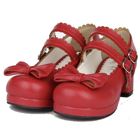 Red off-brand lolita shoes