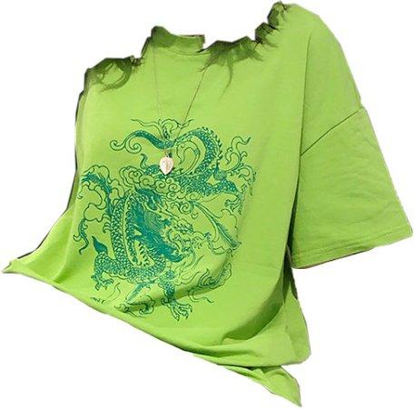 Green Dragon Print Over-sized T-shirt