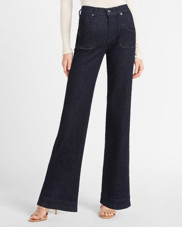 Mid Rise Patch Pocket Wide Leg Jeans