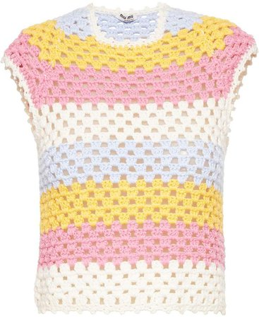 Striped Sleeveless Crochet Top