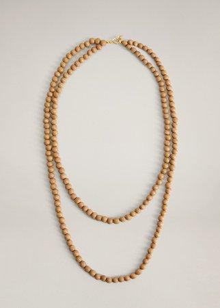 Wooden bead necklace - Women   Mango USA