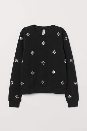 Sweatshirt with Appliques - Black