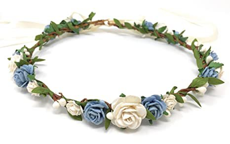 Amazon.com : Daddasprincess Flower girl crown wedding boho headpiece headband hair wreath (Blush) : Beauty