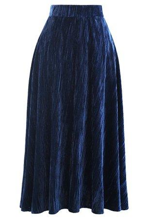 Velvet Flare Hem Midi Skirt in Navy - Retro, Indie and Unique Fashion