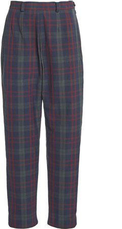 Rosie Assoulin Plaid Tapered Cady Pants