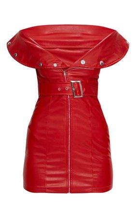 Red Faux Leather Bardot Waist Belt Bodycon Dress | PrettyLittleThing