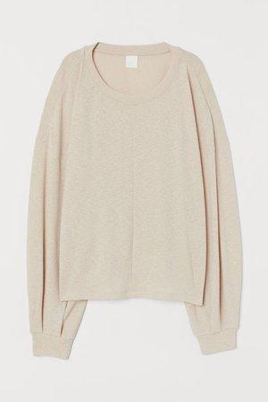 Crêped Top - Light beige - Ladies | H&M US