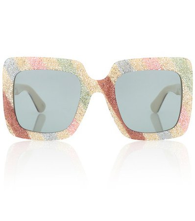 Square-frame glitter sunglasses