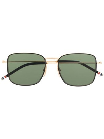 Thom Browne Eyewear TBS117 Oversized Squared Aviator Sunglasses - Farfetch