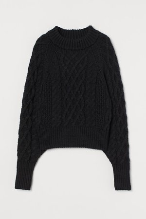 Cable-knit Sweater - Black - Ladies | H&M US