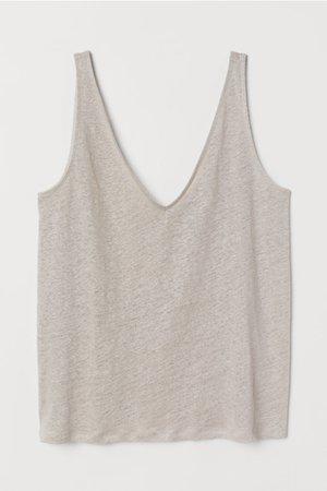 Linen Tank Top - Light taupe - Ladies | H&M US