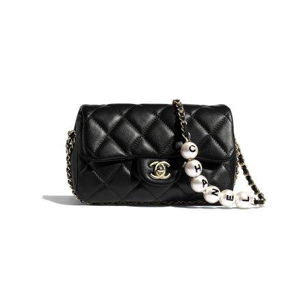 Lambskin, Imitation Pearls & Gold-Tone Metal Black Small Flap Bag | CHANEL