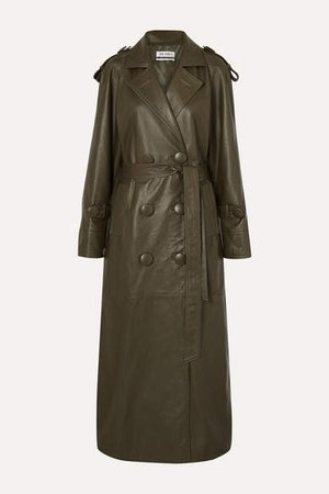 The Belted Leather Trench Coat - Army green