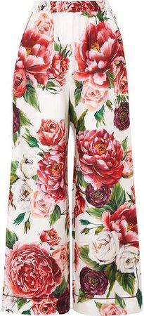 Floral-print Silk-twill Wide-leg Pants - Pink