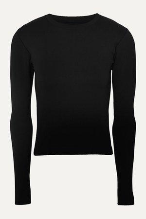 Black Signature ribbed stretch-knit top | Cordova | NET-A-PORTER