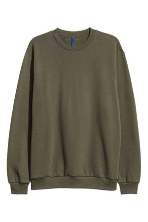 Relaxed-fit sweatshirt - Dark khaki green - Men | H&M GB