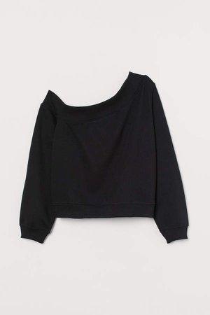 One-shoulder Sweatshirt - Black