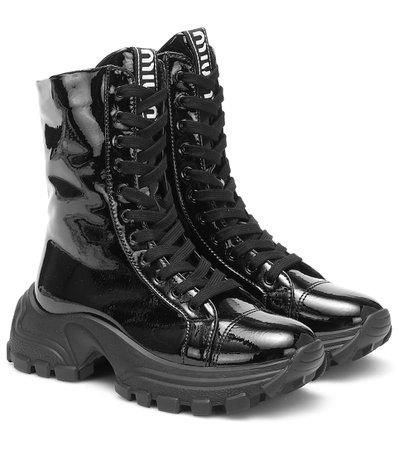 Patent Leather Combat Boots | Miu Miu - Mytheresa