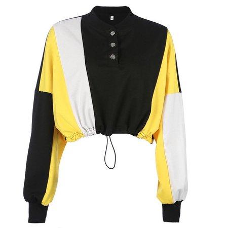 button drawstring navel loose t-shirt sweater