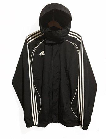 Vintage 90s Adidas Windbreaker jacket Black/White Size L