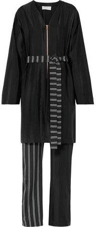Striped Satin And Crepe De Chine Jumpsuit - Black