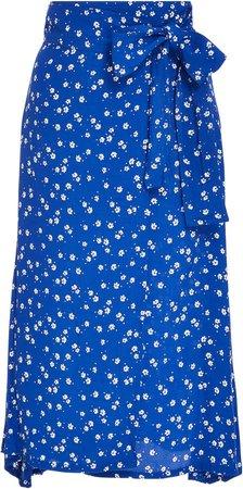 Valencia Floral Voile Wrap Midi Skirt
