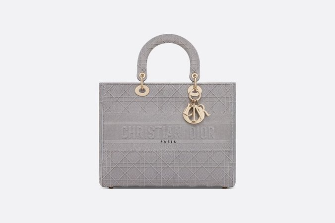 Large Lady D-Lite Bag Gray Cannage Embroidery - Bags - Women's Fashion   DIOR